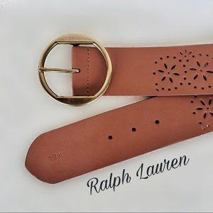 """Ralph Lauren 2"""" Chestnut Brown Leather Belt"""